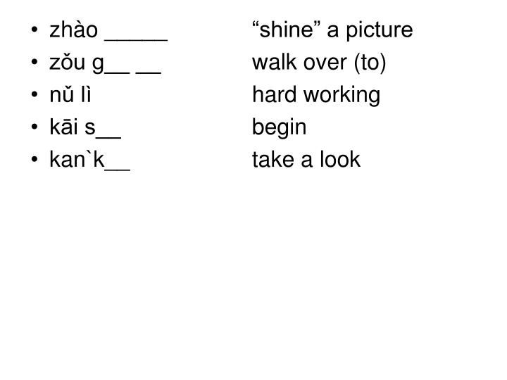 "zhào _____   ""shine"" a picture"