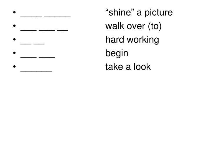 """____ _____   """"shine"""" a picture"""