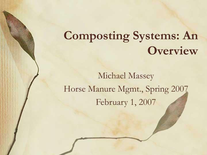 composting systems an overview