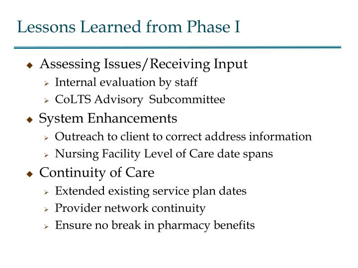 Lessons Learned from Phase I