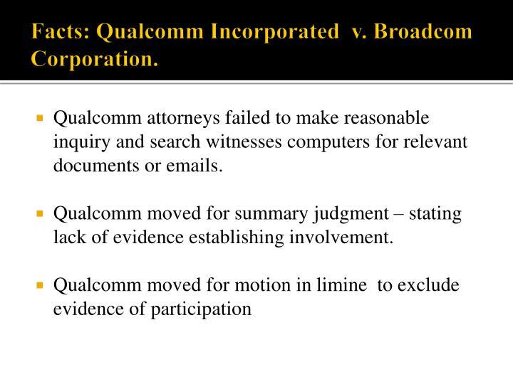 Facts: Qualcomm Incorporated  v. Broadcom Corporation.