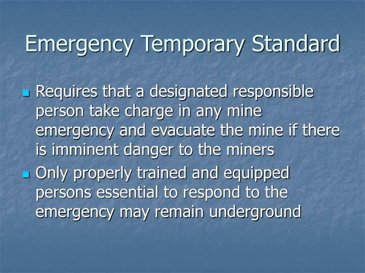 Emergency Temporary Standard