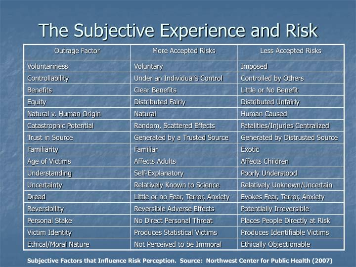 The Subjective Experience and Risk