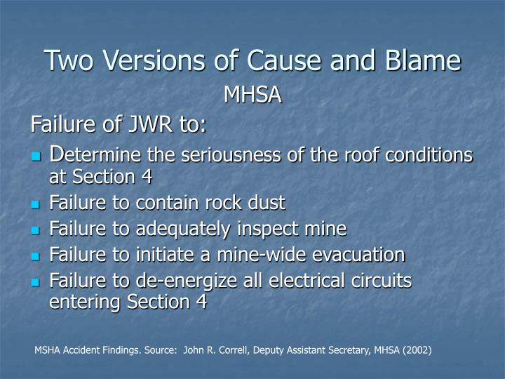 Two Versions of Cause and Blame