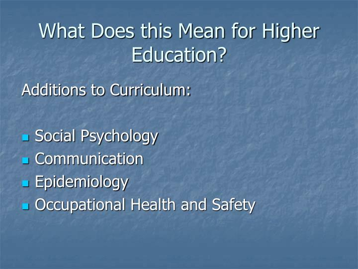 What Does this Mean for Higher Education?