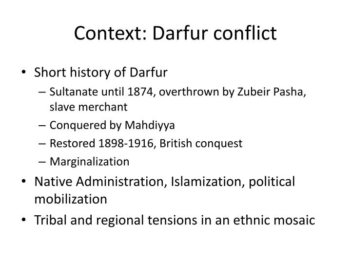 Context: Darfur conflict