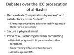 debates over the icc prosecution of al bashir