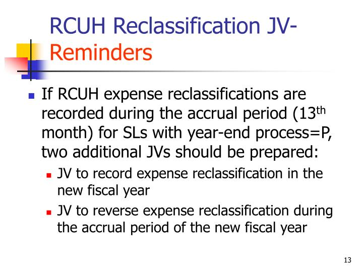 RCUH Reclassification JV-