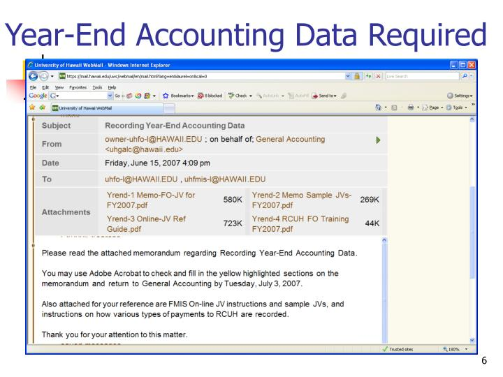Year-End Accounting Data Required
