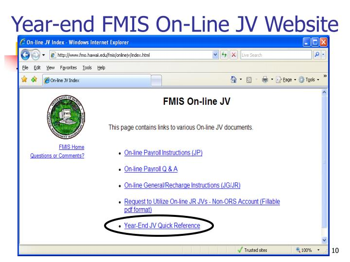 Year-end FMIS On-Line JV Website