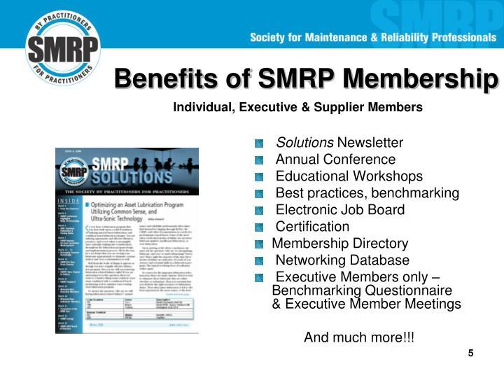 Benefits of SMRP Membership