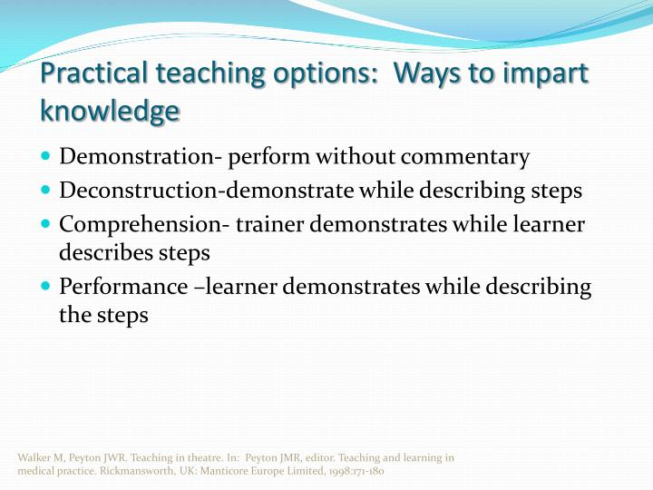 Practical teaching options:  Ways to impart knowledge
