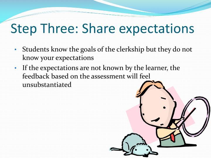 Step Three: Share expectations
