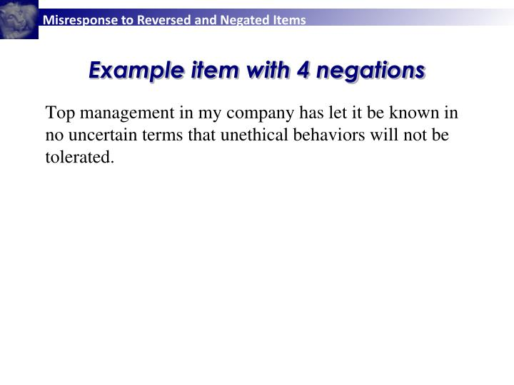 Example item with 4 negations
