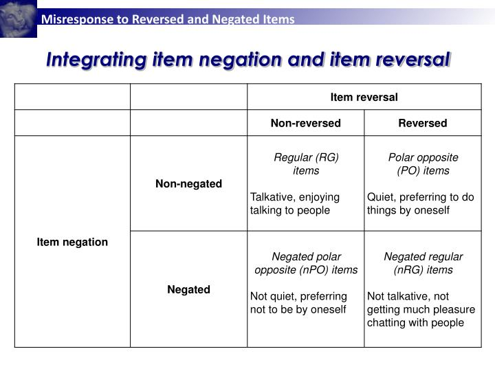 Integrating item negation and item reversal