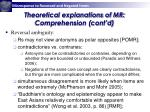theoretical explanations of mr comprehension cont d
