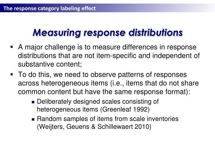 Measuring response distributions