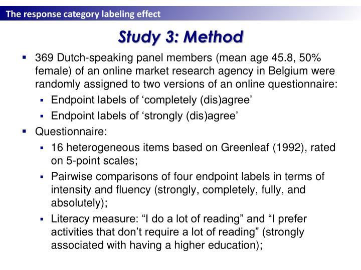 Study 3: Method