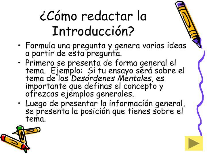 ¿Cómo redactar la Introducción?