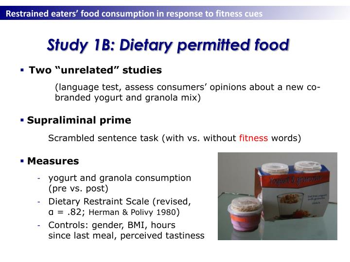 Study 1B: Dietary permitted food