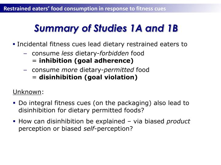 Summary of Studies 1A and 1B