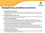 budgeted key priorities cost drivers
