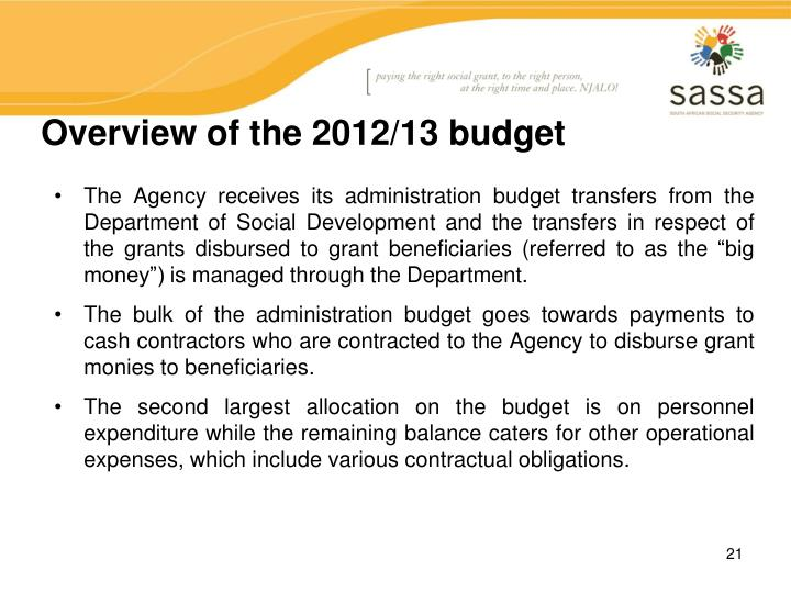 Overview of the 2012/13 budget