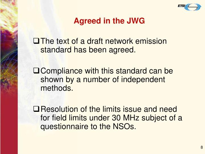 Agreed in the JWG