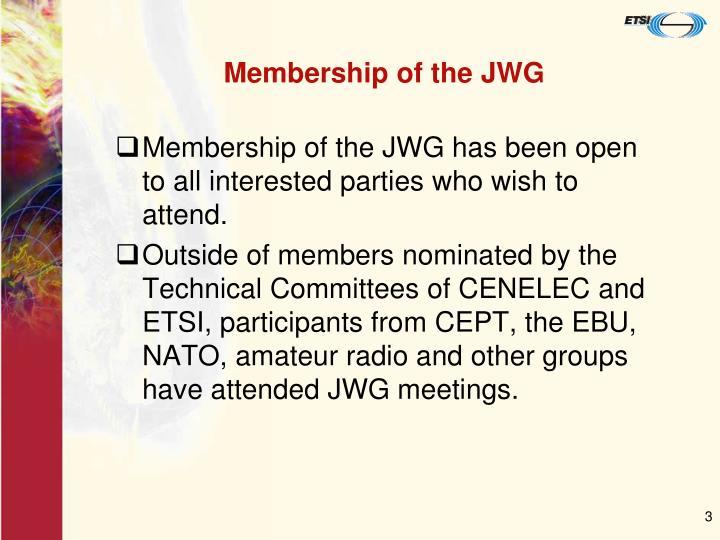 Membership of the JWG