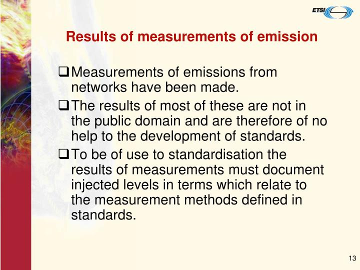 Results of measurements of emission