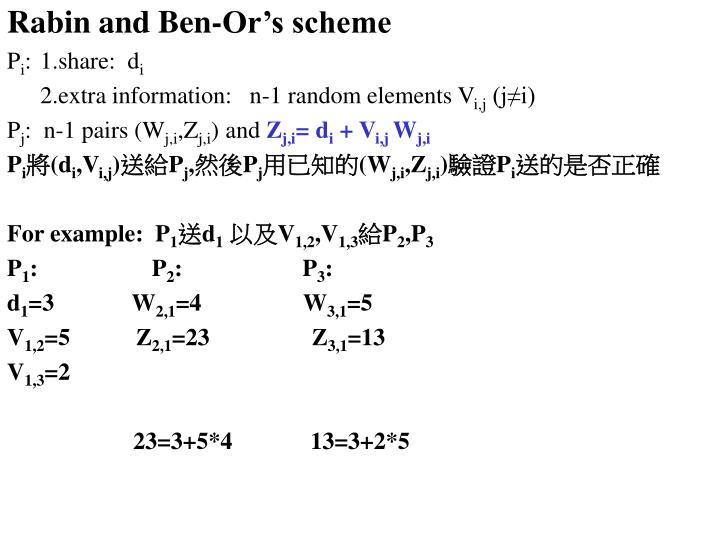 Rabin and Ben-Or's scheme