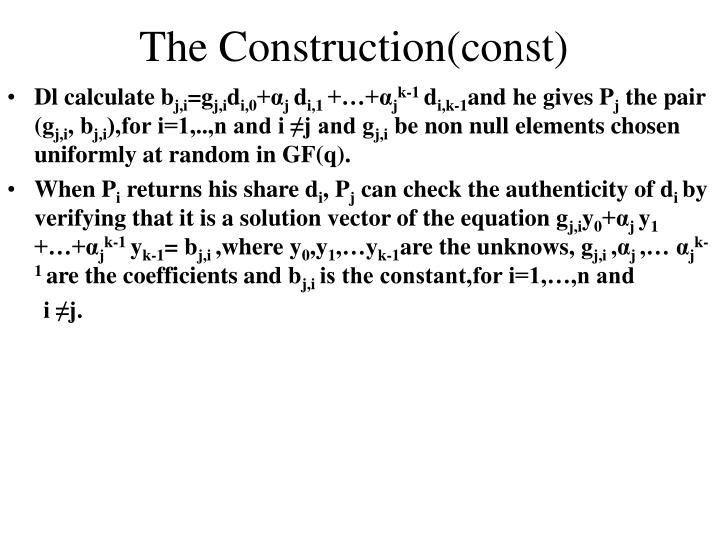 The Construction(const)