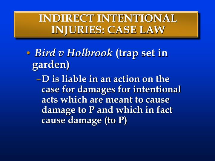 INDIRECT INTENTIONAL INJURIES: CASE LAW