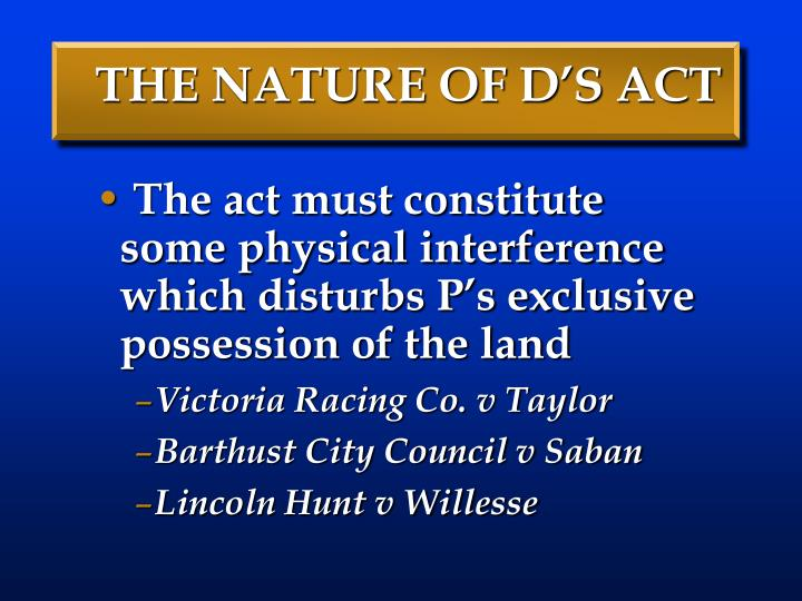 THE NATURE OF D'S ACT