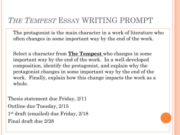 The tempest essay writing prompt