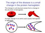 the origin of the disease is a small change in the protein hemoglobin