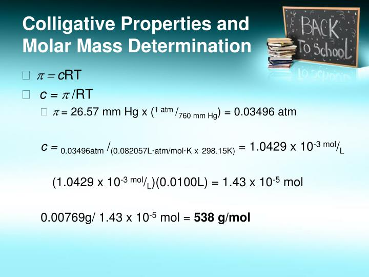 Colligative Properties and Molar Mass Determination