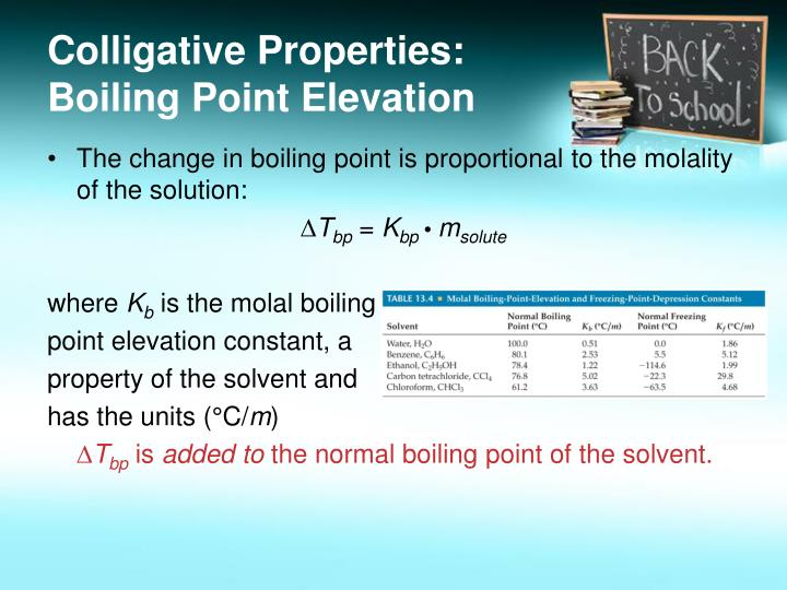 Colligative properties boiling point elevation