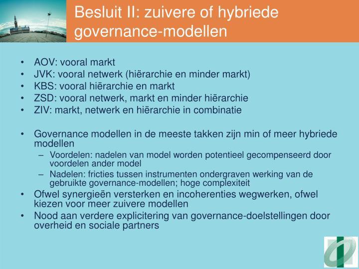 Besluit II: zuivere of hybriede governance-modellen