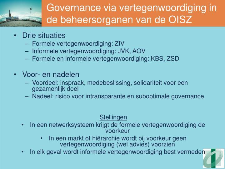 Governance via vertegenwoordiging in de beheersorganen van de OISZ