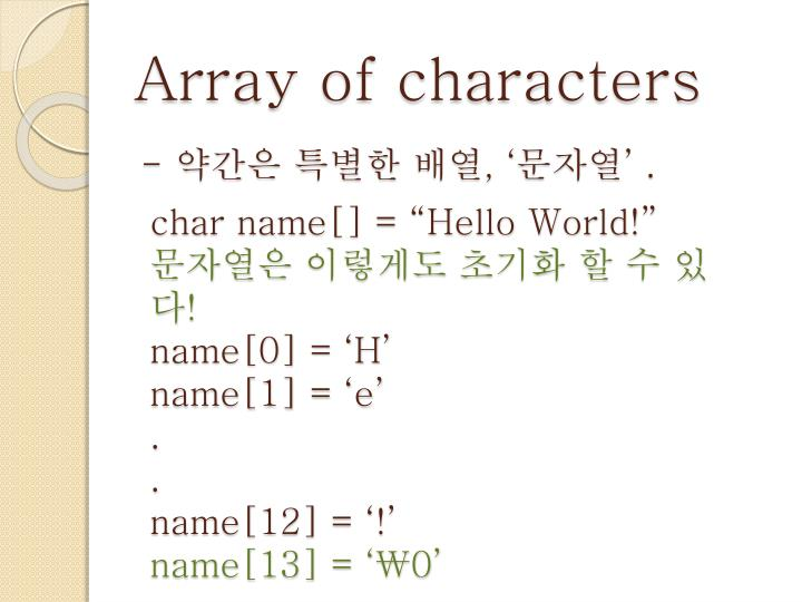 Array of characters