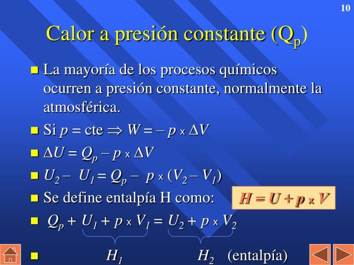 Calor a presión constante (Q