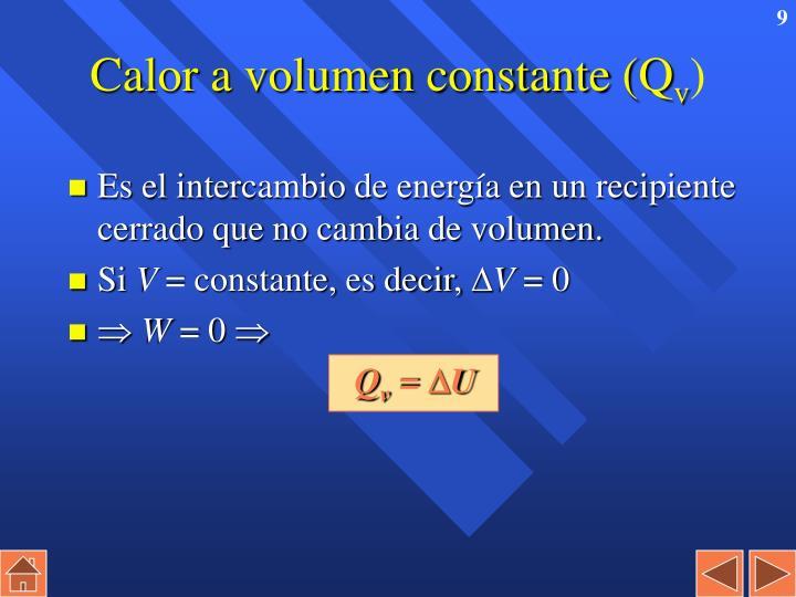 Calor a volumen constante (Q