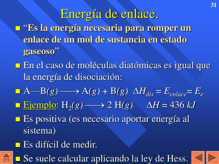 Energía de enlace.