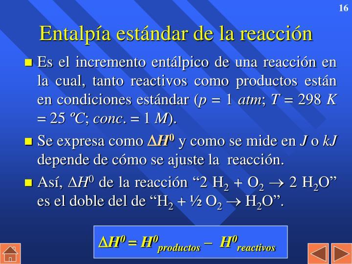 Entalpía estándar de la reacción