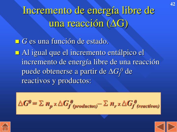Incremento de energía libre de una reacción (