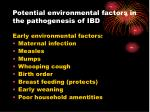 potential environmental factors in the pathogenesis of ibd