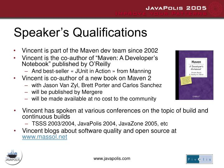 Speaker's Qualifications