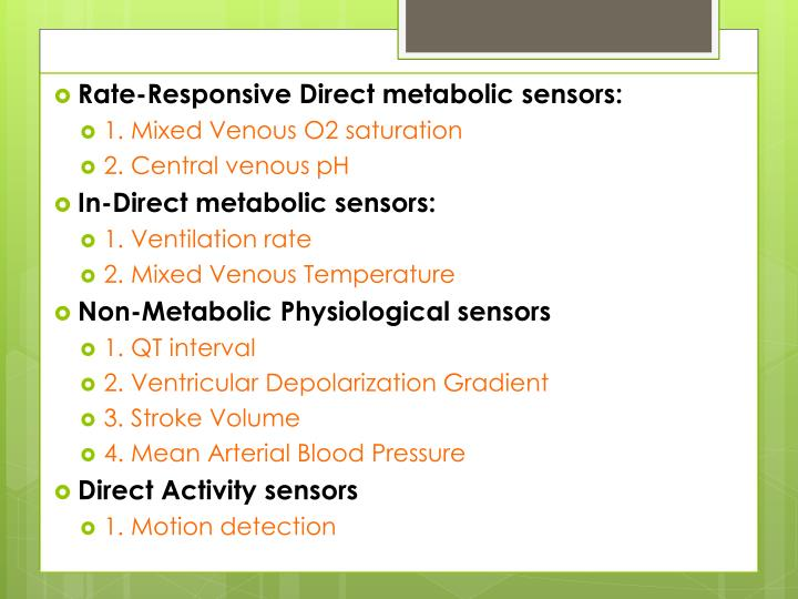 Rate Responsive Pacemakers
