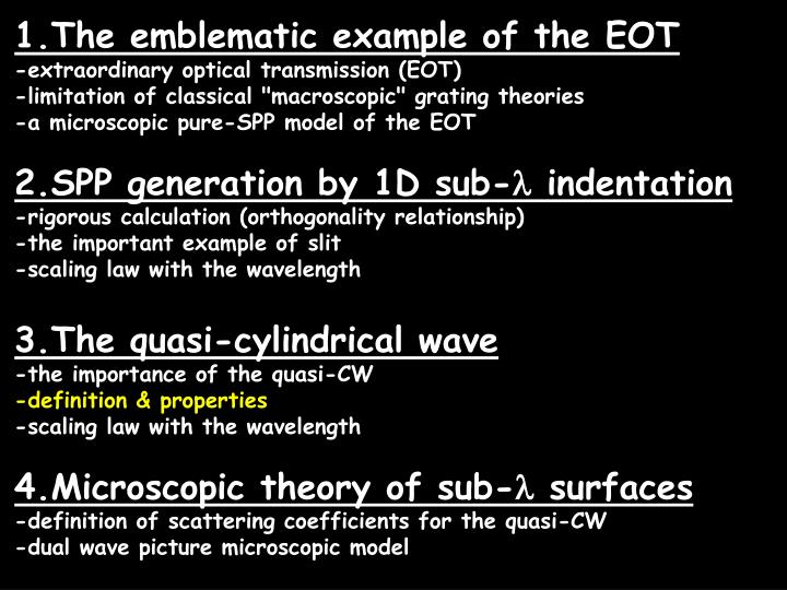 1.The emblematic example of the EOT